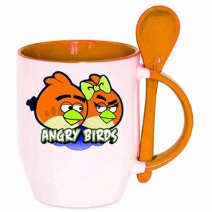 Кружка оранжевая с ложечкой «ANGRY BIRDS»